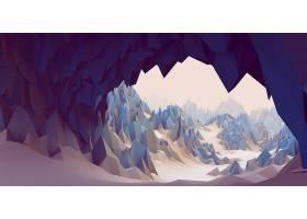 抽象,艺术的,数字的,艺术,3D,CGI,雪,山,低的,聚酯的,风景,壁纸,
