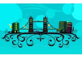 抽象,矢量,伦敦,富有色彩的,风景,壁纸,