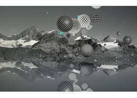 抽象,球,3D,数字的,艺术,CGI,壁纸,(4)