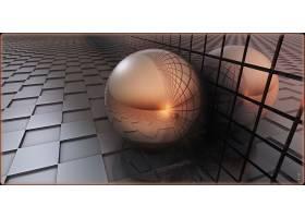 抽象,球,3D,数字的,艺术,CGI,格子,壁纸,