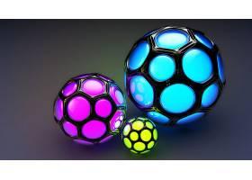 抽象,球,3D,数字的,艺术,CGI,蓝色,紫色,黄色,壁纸,