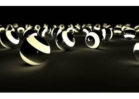 抽象,球,3D,数字的,艺术,CGI,黑色,壁纸,(1)