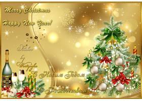 香槟色圣诞树香槟雪花光影海报背景