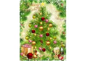 绿色圣诞树香槟礼物盒装饰球装饰背景