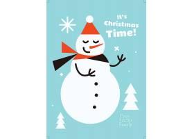 卡通圣诞节雪人海报设计