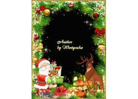 冬季圣诞树装饰球驯鹿圣诞老人边框设计