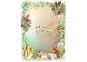 圣诞节蜡烛装饰球松鼠边框设计