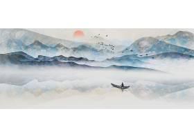中国风水墨山水画古典装饰背景