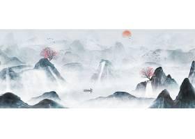 原创大气水墨山水古风中国风背景