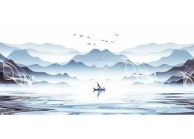 手绘水墨山水风景背景