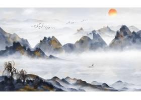 原创中式大气国画水墨山水背景