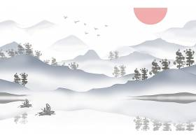 古风水墨山水banner海报背景