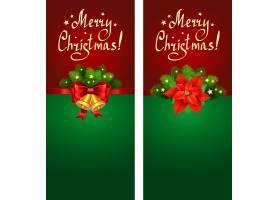 圣诞节松树枝铃铛红色缎带蝴蝶结装饰背景
