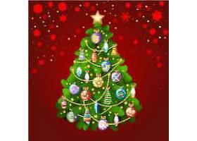 红色背景圣诞树装饰球矢量插画设计