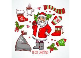 卡通圣诞老人圣诞树送礼物品袜子手套围巾手绘矢量插画设计