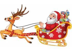 圣诞节送礼雪橇驯鹿圣诞老人矢量插画设计