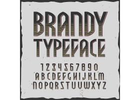 复古创意白兰地和白兰地字母与方形框架标签插画设计