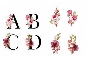 粉色花卉融入大写字母清新矢量素材