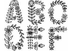 单色花卉枝条叶子拼接大写字母矢量素材
