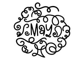 单色涂鸦风月份字母单词扭曲线条元素矢量素材