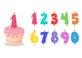 周岁数字蛋糕蜡烛矢量插画设计
