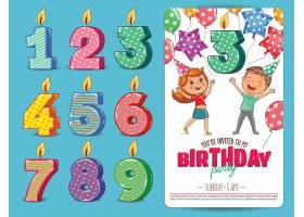 清新可爱的数字蜡烛生日派对海报设计