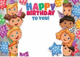 儿童孩子们生日快乐主题矢量插画设计