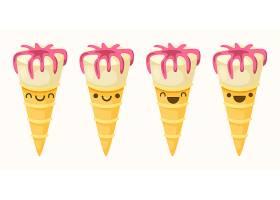 甜筒冰激凌主题矢量插画设计