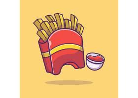 薯条番茄酱主题矢量插画设计