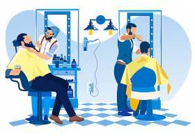 理发店理发师顾客人物插画设计
