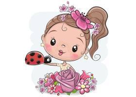 清新可爱的大头小女孩人物插画设计