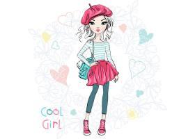 手绘时尚女孩穿着不同的时尚服装和配件矢量插画设计