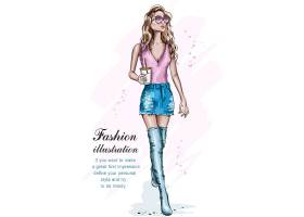 马克笔手绘欧式时尚潮流女性人物插画设计