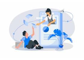 互联网社交沟通主题人物矢量插画设计