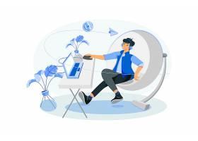 计算机上班族主题人物矢量插画设计
