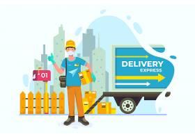物流快递送货上门工作人员主题人物矢量插画设计