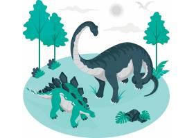 恐龙剑龙梁龙动物插画设计