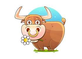 叼着花的牛主题插画设计