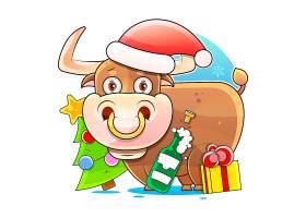圣诞节牛主题插画设计
