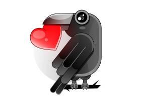 叼着心形的乌鸦主题插画设计