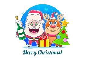 圣诞老人驯鹿礼物盒香槟圣诞树主题插画设计