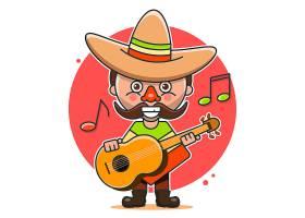 墨西哥弹吉他的男子主题插画设计