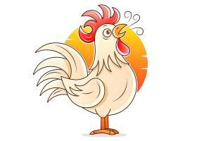 早晨的公鸡主题插画设计