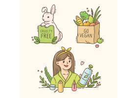 女性面部护理兔子新鲜蔬果主题插画设计