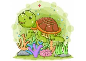 海底海龟主题插画设计