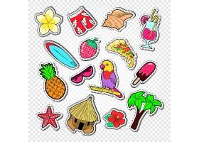 椰树海参热带鹦鹉冰激凌披萨草莓海螺果汁冲浪板菠萝主题插画标签