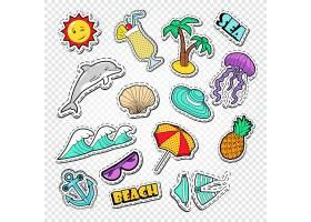 船锚贝壳果汁椰子树水母菠萝泳装海浪主题插画标签标贴设计