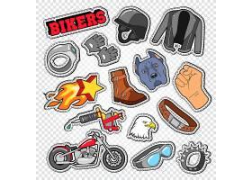 飞车党摩托车腰带鞋子安全帽主题插画标签标贴设计
