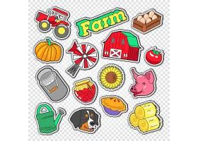 南瓜鸡蛋农场向日葵猪西红柿主题插画标签标贴设计