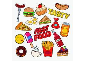 汉堡包荷包蛋甜甜圈薯条辣酱汽水蛋糕主题插画标签标贴设计
